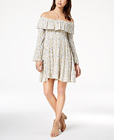 American Rag Juniors' Printed Off-The-Shoulder Dress, Created for Macy's