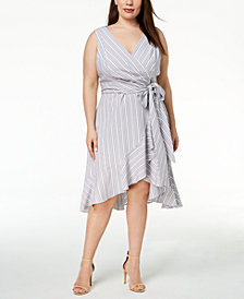Calvin Klein Plus-Size Cotton Faux-Wrap Dress
