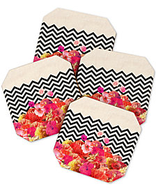 Deny Designs Bianca Green Chevron Flora Coaster Set