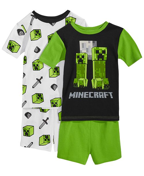 57c77e4b92 Minecraft 4-Pc. Creeper Cotton Pajama Set, Little Boys & Big Boys ...