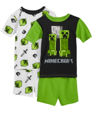 Minecraft 4Pc Creeper Cotton Pajama Set Little Boys  Big Boys