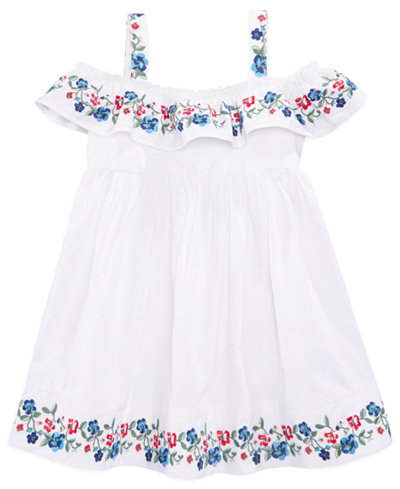 Blueberi Boulevard Embroidered Cotton Peasant Dress, Little Girls
