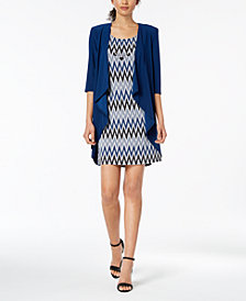 R & M Richards Petite Zigzag-Print Dress and Jacket