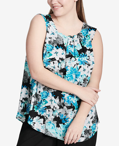 Calvin Klein Plus Size Pleated Floral-Print Top