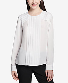 Calvin Klein Pleated Chiffon Top
