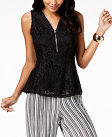 Thalia Sodi Lace Zip-Detail Peplum Top, Created for Macy's