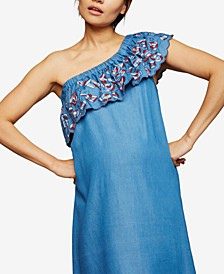 Maternity One-Shoulder Embroidered Dress