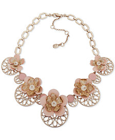 "Ivanka Trump Gold-Tone Imitation Pearl & Flower Statement Necklace, 16"" + 3"" extender"
