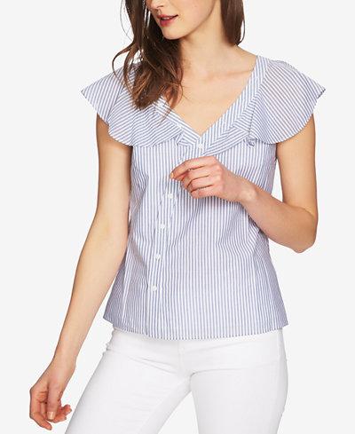 1.STATE Cotton Flutter-Sleeve Asymmetrical Blouse