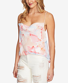 1.STATE Printed Cowl-Neck Camisole Top