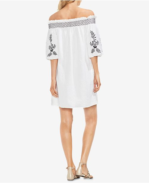 3f88076bf33 Vince Camuto Off-The-Shoulder Embroidered Linen Dress   Reviews ...