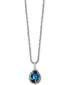 "EFFY® Multi-Gemstone 18"" Pendant Necklace (3-9/10 ct. t.w.) in Sterling Silver & 18k Gold"