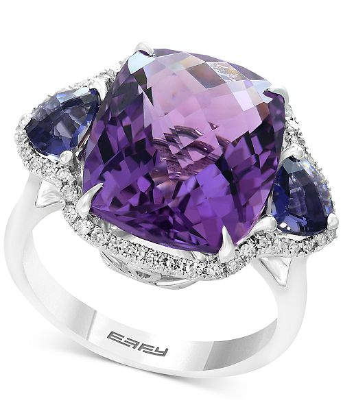 EFFY Collection EFFY® Multi-Gemstone (9-9/10 ct. t.w.) & Diamond (1/5 ct. t.w.) Ring in 14k White Gold