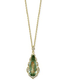 "EFFY® Green Quartz (4 ct. t.w.) & Diamond (1/8 ct. t.w.) 18"" Pendant Necklace in 14k Gold"