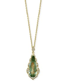 "EFFY® Prasiolite (4 ct. t.w.) & Diamond (1/8 ct. t.w.) 18"" Pendant Necklace in 14k Gold"
