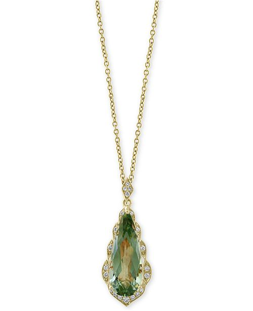 "EFFY Collection EFFY® Green Quartz (4 ct. t.w.) & Diamond (1/8 ct. t.w.) 18"" Pendant Necklace in 14k Gold"