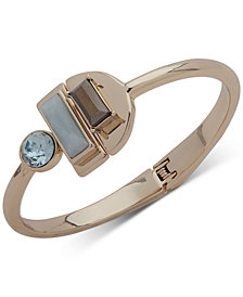 DKNY Gold-Tone Multi-Stone Hinged Cuff Bracelet, Created for Macy's