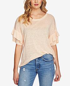 1.STATE Linen Ruffle-Sleeve Textured T-Shirt