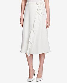 Calvin Klein Belted Ruffle-Trim Skirt