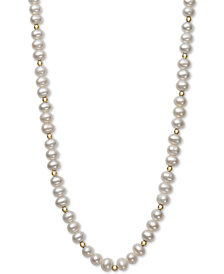 "Children's Cultured Freshwater Pearl (5-6mm) & Bead 14"" Necklace in 14k Gold"