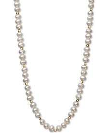 """Children's Cultured Freshwater Pearl (5-6mm) & Bead 14"""" Necklace in 14k Gold"""