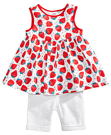 First Impressions Strawberry-Print Top & Shorts Separates, Baby Girls, Created for Macy's