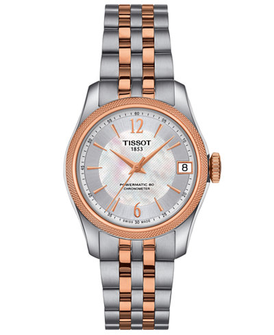 Tissot Women's Swiss Automatic T-Classic Ballade Gray & Rose Gold-Tone PVD Stainless Steel Bracelet Watch 30.6mm