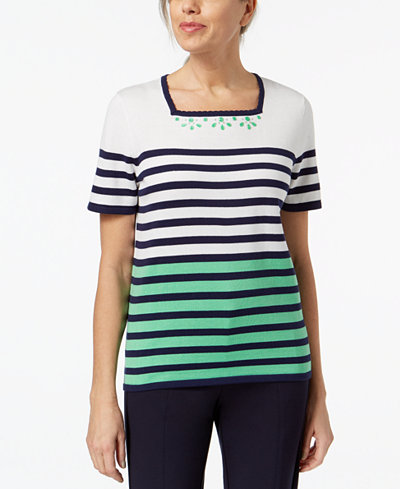 Alfred Dunner Petite Striped Embellished-Neck Sweater