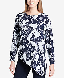 Calvin Klein Asymmetrical Mixed-Print Top