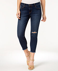 Kut from the Kloth Petite Donna Frayed-Hem Cropped Jeans