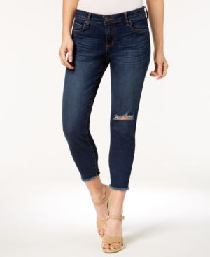 Kut from the Kloth Petite Donna Frayed-Hem Cropped Jeans 5897659