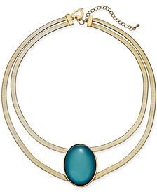 "Thalia Sodi Gold-Tone Oval Stone Double-Row Collar Necklace, 16"" + 3"" extender, Created for Macy's"