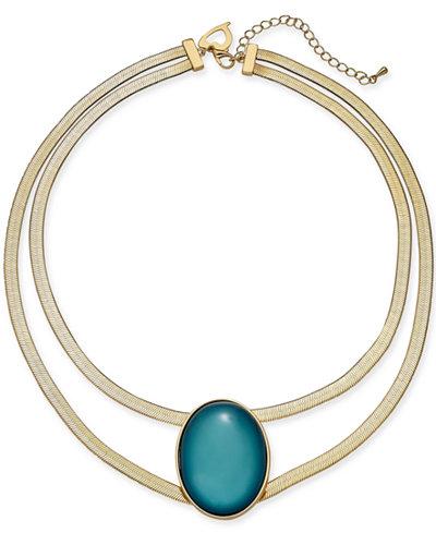 Thalia Sodi Gold-Tone Oval Stone Double-Row Collar Necklace, 16