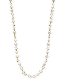 "Charter Club Gold-Tone Crystal & Imitation Pearl Strand Necklace, 42"" + 2"" extender, Created for Macy's"