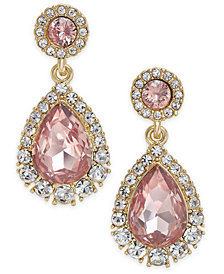 Charter Club Gold-Tone Pavé & Colored Crystal Drop Earrings, Created for Macy's
