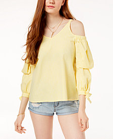 The Edit By Seventeen Juniors' Cold-Shoulder Gingham Top, Created for Macy's