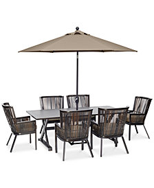 "CLOSEOUT! Savannah Outdoor 7-Pc. Dining Set (84"" x 42"" Rectangle Dining Table & 6 Captain Dining Chairs) with Sunbrella® Cushions, Created for Macy's"