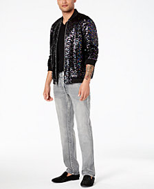 I.N.C. Men's Sequin Bomber, Faux-Leather Pieced T-Shirt & Slim-Straight Fit Stretch Jeans, Created for Macy's