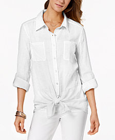Style & Co Petite Tie-Hem Shirt, Created for Macy's