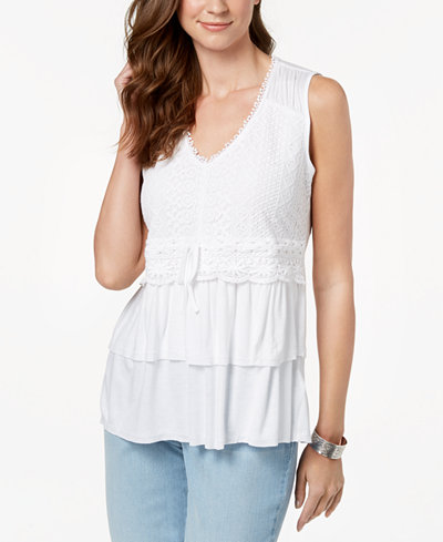 Style & Co Lace Flounce-Hem Top, Created for Macy's