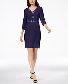 NY Collection Petite Grommet-Trim Dress