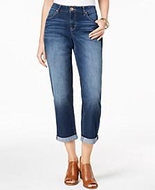 Petite Curvy-Fit Skinny Boyfriend  Jeans, Created for Macy's
