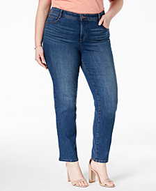 Style & Co Plus & Petite Plus Size Tummy-Control Slim-Leg Jeans, Created for Macy's