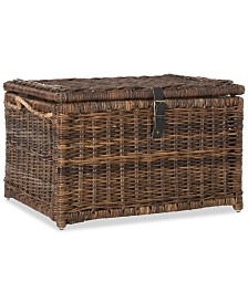JONATHAN Y Happimess Caden 30'' Wicker Storage Trunk, Quick Ship