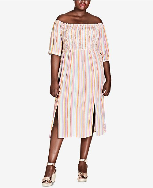 City Chic Trendy Plus Size Off The Shoulder Midi Dress Dresses