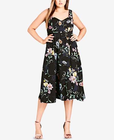 City Chic Trendy Plus Size Belted Midi Dress