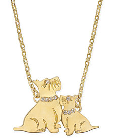 "kate spade new york Gold-Tone Pavé Dog Pendant Necklace, 17"" + 3"" extender"