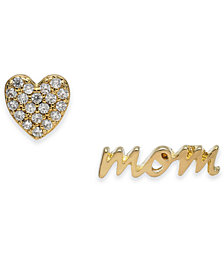 kate spade new york Gold-Tone Pavé Heart & Mom Mismatch Stud Earrings