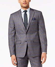 Sean John Men's Slim-Fit Stretch Gray/Blue Windowpane Suit Jacket