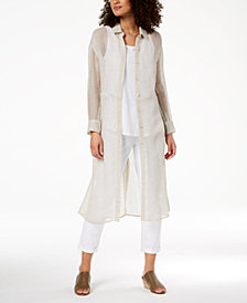 Eileen Fisher Organic Linen Mesh Classic Collared Duster Top